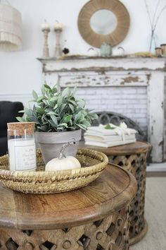 fall decorations, white pumpkins, fall table decorations, fall home tour