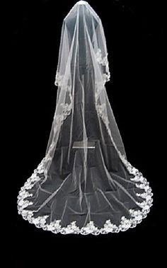 1 Layer Cathedral Length Wedding Veil 600cm length