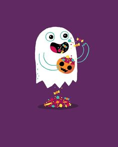 'Ghost Candy' Poster by DinoMike Halloween Bedroom, Halloween Doodle, Halloween Banner, Halloween Prints, Halloween Items, Halloween Quotes, Halloween Pictures, Halloween Design, Cute Halloween