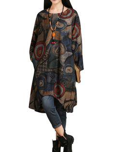 Women Vintage Geometric Printing Round Neck Irregular Dress With Scarf