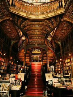 Livraria Lello bookshop in Porto, Portugal. I want a home library that looks like this! Beautiful Library, Dream Library, Library Room, Livraria Lello Porto, Most Beautiful, Beautiful Places, Absolutely Fabulous, Beautiful Pictures, Home Libraries