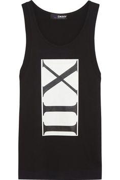 DKNY+ Cara Delevingne printed cotton-jersey tank