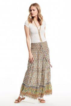 Printed silk maxi skirt.