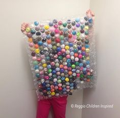 BUBBLE WRAP!! Filed with ribbon, fabric, etc. This is really pretty cool lookin!