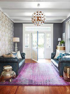 living room, copper, ceiling light, purple, interior