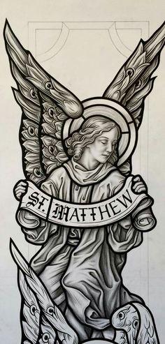 Stained Glass Tattoo, Stained Glass Paint, Forarm Tattoos, Sleeve Tattoos, Boxing Tattoos, Religion Tattoos, Saint Tattoo, Archangel Tattoo, Aztecas Art