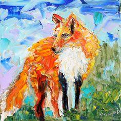 Original Wild Fox palette knife painting oil by Karensfineart