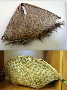 Love the shape. Flax Weaving, Weaving Art, Basket Weaving, Coconut Leaves, Flax Flowers, Maori Designs, Gift Wrapper, Maori Art, Found Art