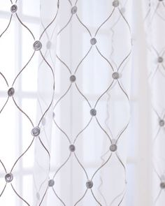 """""""Manchester"""" Sheer Curtains at Horchow. $59.50 (96"""") Each is approximately 50""""W, with 3"""" rod pocket. Made of polyester."""