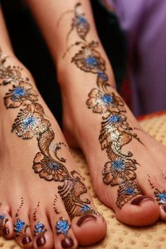 henna :) with blue sparkles