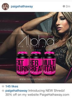 There's nothing more I love than girly packaging, black and pink is girly and badass lol but SERIOUSLY I'm trying these, the fat burner and creatine. I love Paige Hathaway she's sexy and one of my inspirations. My girl Ana Delia is also coming out with her supplement soon as well!! Can't wait to see what that is