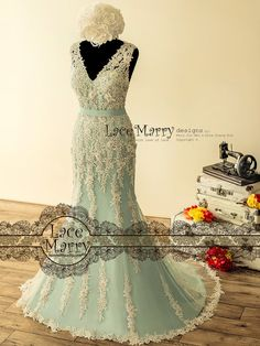 Fabulous Teal Wedding Dress with Intensive Beaded by LaceMarry
