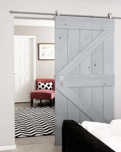 Real Sliding Hardware & Real Barn Doors were used to divide the hallway between the master bedroom and bath. From Washington state near Tacoma, they make dutch doors. Sliding Barn Door Hardware, Sliding Doors, Door Design, House Design, The Doors, Entrance Doors, Internal Doors, Interior Barn Doors, Family Room