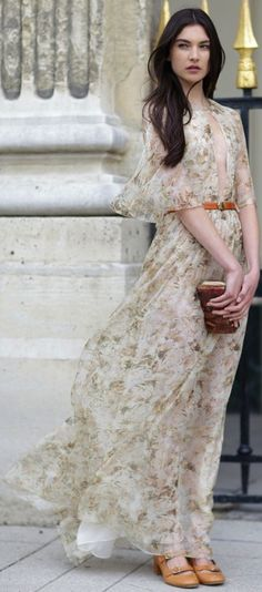 Flowy, belted floral maxi in soft muted colors.