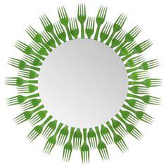 Plastic Fork Round Mirror- 2 Level