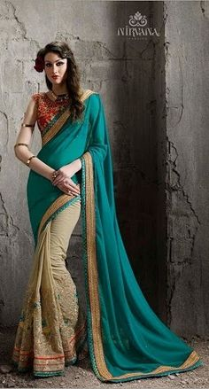 Buy Cream and Medium Turquoise Saree from shayona junction.Leading online store to buy latest designer sarees and designer sari online USA,India.