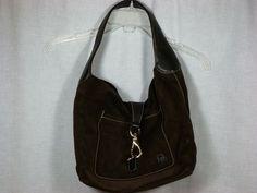 GUC Dooney Bourke Suede Leather Brown Handbag Purse Hobo Style Shoulder Bag   eBay