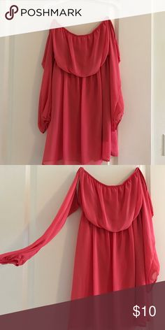 Mini cut off sleeve dress Cut off sleeves. Peach/pink color Dresses Strapless