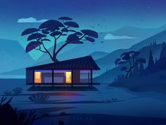 Night sky designed by Mina FZ. for Queble. Connect with them on Dribbble; Shadow Illustration, Sky Design, Design Art, San Luis Obispo, Art Background, Night Skies, Illustrations Posters, Aesthetic Wallpapers, Scenery