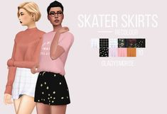 "SKATER SKIRTS recolour ""this is probably my favourite recolour, especially the starry skirt :'D it comes with 10 swatches, has its own thumbnail and is maxis match. you can find the mesh here. the old..."