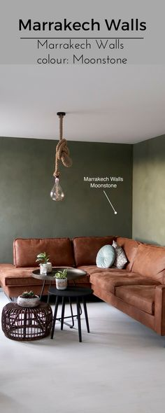 Stunning wall for GREEN lovers, made with Marrakech Walls paint colour Moonstone. Marrakech Walls is a 100% natural paint coloured with of course 100% natural pigments. Characteristic of this paint are the beautiful soft colour nuances that will automatically be visible after application. Cred: Furnlovers.