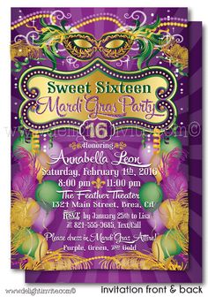 Mardi Gras Sweet 16 Digital Printable Invitation [DI-400DP] : Custom Invitations and Announcements for all Occasions, by Delight Invite