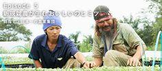 フレッシュグループの仲間、佐藤さんと山下さんが苗の生育状況をみている様子