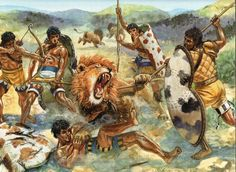 Giuseppe Rava's version of a Mycenaean lion hunt.