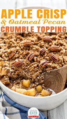 """This apple crisp with oatmeal crumble topping is an elevated take on the classic dessert. Serve as is or enjoy with a scoop of ice cream! This might look like a super simple, maybe even a bit """"basic,"""" apple crisp recipe, but I would tell you that it is definitely anything but basic! Super simple, yes, I think it qualifies even if it might look like a long ingredient list, it isn't complicated at all. 