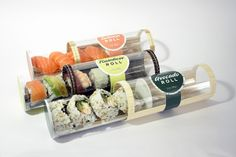Sushi Tube Packaging on Student Show Food Packaging Design, Box Packaging, Different Types Of Sushi, Avocado Roll, Japanese Lunch Box, Japanese Packaging, Korean Food, Food Design, Food Truck
