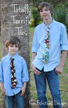 Sewing Tutorial: The Totally Terrific Tie Tutorial, by Fishsticks Designs Mar. Make conventional or pre-tied, hook-and-loop fastened custom ties for the guys in your life Sewing Hacks, Sewing Tutorials, Sewing Crafts, Sewing Projects, Sewing Ideas, Sewing For Kids, Baby Sewing, Sewing Patterns Free, Free Sewing