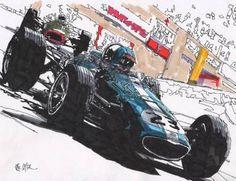"Saatchi Art Artist Paul Guyer; Drawing, ""Dan Gurney, Eagle, 1967, Grand Prix of Monaco"" #art"