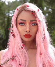 46 Beautiful Pink Hair Color Ideas To Makes You Looks Stunning - Trend Hair Makeup Ideas 2019 Pretty Hairstyles, Wig Hairstyles, Fashion Hairstyles, Haircuts, Hair Color Pink, Hair Colours, Black Girl Pink Hair, Purple Hair, Black Girls