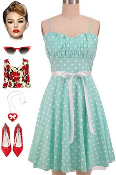 50s Style MINT & White DOT ROUCHED Bust Bombshell PINUP Sun Dress w/Ribbon SASH #PrivateManufacturer #Sundress #Casual