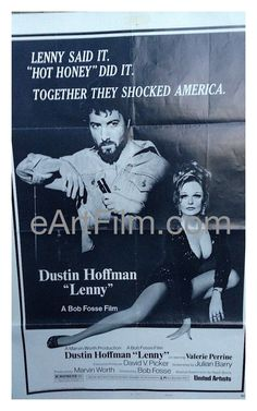 Lenny, the 1974 Bob Fosse biography of famed shock comedian Lenny Bruce starring Dustin Hoffman, Valerie Perrine, Jan Miner, Stanley Beck and Frankie Man. Poster Condition: Good to Very Good. May have
