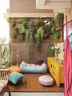 Decor Of Small Balcony Or Veranda Or Porch Modern Design Yet Bohemian A  Little Bit With Shisha In The Corner Too And Some Plants Hanging On A Wall.