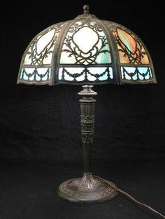 Art Nouveau Table Lamp w/ Blue Slag Glass