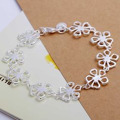 silver plated jewelry bracelet fine fashion flower bracelet and retail SMTH169