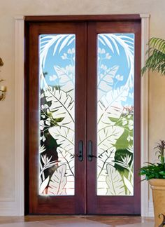 Tropical Oasis Etched Glass Window Film on tall french doors. Tropical Window Film, Tropical Doors, Tropical Windows, Glass Etching, Etched Glass, Frosted Glass Window, Glass Front Door, Glass Doors, Drapes And Blinds
