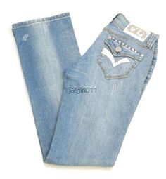 Womens Virgin Only Jeans Slim Fit Low Rise Embellished Skinny 5 28 x 32 New  #VirginOnly #SlimSkinny