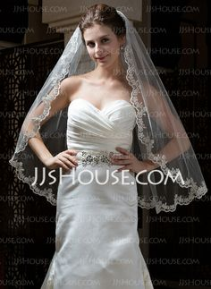 Wedding Veils - $16.99 - One-tier Fingertip Bridal Veils With Lace Applique Edge (006034300) http://jjshouse.com/One-Tier-Fingertip-Bridal-Veils-With-Lace-Applique-Edge-006034300-g34300