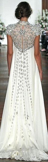 White silver beaded gown with train - Jenny Packham 2013