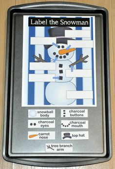 Label the Snowman Cookie Sheet Activity Early Learning Activities, Holiday Activities, Hands On Activities, File Folder Activities, File Folder Games, File Folders, Cookie Sheet Activities, Classroom Inspiration, Classroom Ideas