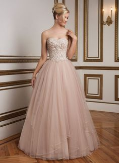 8847 in sorbet / silver by Justin Alexander - Ball Gown wedding dress 2016  This dress is one of the most gorgeous things I've ever seen. It's so much prettier in person. It's got such a gorgeous, understated glamour. The rhinestone detailing on the tulle is flawless
