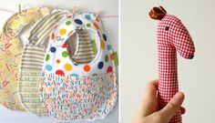 simple sewing projects- bibs, little pants and stuffed toys