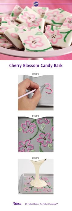 Use three colors of melted candy melts and a cut decorating bag to pipe free-form floral designs, then give texture to the design using brush embroidery to create customized candy bark.