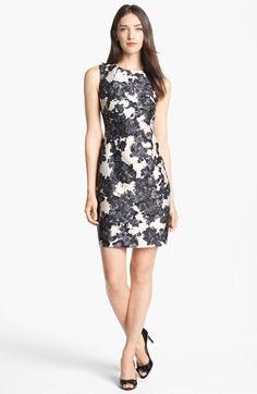 kate spade new york 'leena' print cotton & silk sheath dress available at #Nordstrom