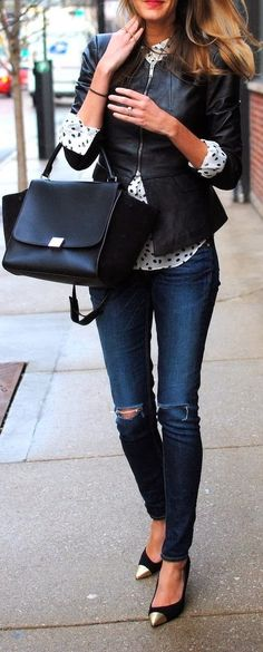 Leather, denim and polka dots! Fall outfit idea. Pinned for Pink Pad, the women's health app! pinkp.ad