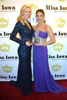Beautiful Nikki Kelly(left) wearing SK3174L to the Miss Iowa pageant as she was later crowned that night! Thanks to @Lechicpromandpageant for dressing her! Xox