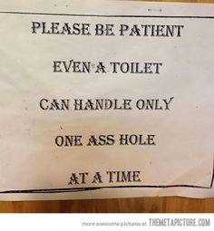 funny be patient sign